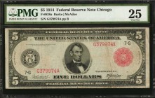 Fr. 838a. 1914 Red Seal $5 Federal Reserve Note. Chicago. PMG Very Fine 25.