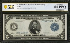 Fr. 883a. 1914 $5 Federal Reserve Note. PCGS Banknote Choice Unc 64 PPQ.