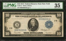 Fr. 911c. 1914 $10 Federal Reserve Note. New York. PMG Choice Very Fine 35.