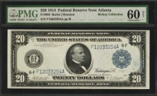 Fr. 986. 1914 $20 Federal Reserve Note. Atlanta. PMG Uncirculated 60 Net. Internal Repairs.