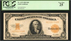 Fr. 1173. 1922 $10 Gold Certificate. PCGS Currency Very Fine 25.