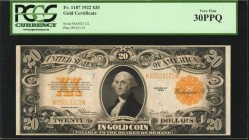 Fr. 1187. 1922 $20 Gold Certificate. PCGS Currency Very Fine 30 PPQ.