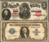 Lot of (2). Fr. 91 & 236. 1907 & 1923 $1 & $5. Legal Tender Note & Silver Certificate. Fine & Choice Very Fine.