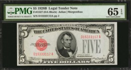 Fr. 1527. 1928B $5 Legal Tender Note. PMG Gem Uncirculated 65 EPQ.