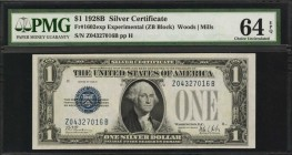 Fr. 1602exp. 1928B $1 Silver Certificate. PMG Choice Uncirculated 64 EPQ.