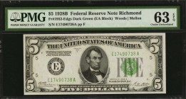Fr. 1952-Edgs. 1928B $5 Federal Reserve Note. Richmond. PMG Choice Uncirculated 63 EPQ.