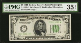 Fr. 1956-C*. 1934 $5 Federal Reserve Star Note. PMG Choice Very Fine 35 EPQ.