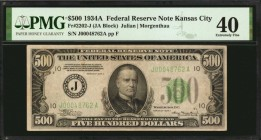 Fr. 2202-J. 1934A $500 Federal Reserve Note. Kansas City. PMG Extremely Fine 40.