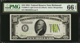 Fr. 2004-E. 1934 $10 Federal Reserve Note. Richmond. PMG Gem Uncirculated 66 EPQ.