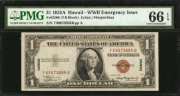 Fr. 2300. 1935A $1 Hawaii Emergency Note. PMG Gem Uncirculated 66 EPQ.