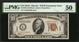 Fr. 2303. 1934A $10 Hawaii Emergency Note. PMG About Uncirculated 50.