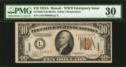 Fr. 2303. 1934A $10 Hawaii Emergency Note. PMG Very Fine 30.