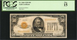 Fr. 2404. 1928 $50 Gold Certificate. PCGS Currency Fine 15.