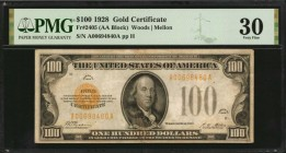 Fr. 2405. 1928 $100 Gold Certificate. PMG Very Fine 30.