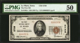 Le Mars, Iowa. $20 1929 Ty. 1. Fr. 1802-1. The First NB. Charter #2728. PMG About Uncirculated 50.