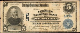 Sedalia, Missouri. $5 1902 Plain Back. Fr. 602. The Citizens NB. Charter #1971. Very Fine.