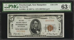 Peterborough, New Hampshire. $5 1929 Ty. 1. Fr. 1800-1. The First NB. Charter #1179. PMG Choice Uncirculated 63 EPQ.
