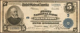 Youngstown, Ohio. $5 1902 Plain Back. Fr. 609. The First NB. Charter #3. Very Fine.