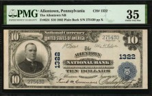 Allentown, Pennsylvania. $10 1902 Plain Back. Fr. 624. The Allentown NB. Charter #1322. PMG Choice Very Fine 35.