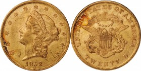 1852 Liberty Head Double Eagle. About Uncirculated (Uncertified).