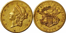 1854-S Liberty Head Double Eagle. About Uncirculated (Uncertified).