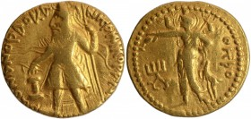 Gold Dinar Coin of Kanishka I of Kushan Dynasty of oesho Type.