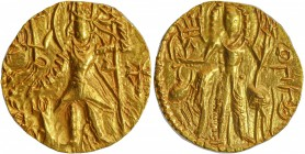 Gold Dinar Coin of Kanishka III of Kushan Dynasty of Shiva type.