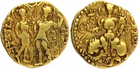 Gold Dinar Coin of Samudragupta of Gupta Dynasty of King and Queen type.