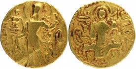Gold Dinar Coin of Samudragupta of Gupta Dynasty of Scepter type.