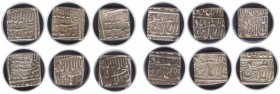 Different Date varieties of Silver Square Rupee Coins of Akbar.