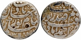 Silver One Rupee Coin of Noorjahan of Ahmadabad Mint.