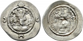 SASANIAN KINGS. Khusru I (531-579). Drachm. MY(?) (?/ Meshan) mint. Dated RY 28(?).
