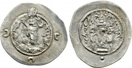 SASANIAN KINGS. Khusru I (531-579). Drachm. NAL(?) mint. Dated RY 44(?).
