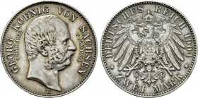GERMANY. Saxony. Georg (1902-1904). Due to his death. 2 Mark (1904 E). Muldenhütten.