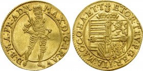 HOLY ROMAN EMPIRE. Maximilian III (as Grand Master of the Teutonic Order, 1590-1618). GOLD Ducat. Hall.