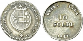 ITALY. Tuscany. Ferdinand III. Second Reign (1814-1824). 10 Soldi (1821). Florence.