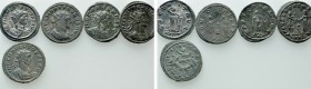 5 Roman Coins; All tooled.