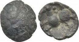 "CENTRAL EUROPE. Vindelici. 1/4 Quinarius (1st century BC). Type ""Manching 2""."