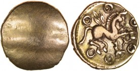Dubnovellaunos Serpent. Sills class 3, dies 1/1. c.25BC-AD5. Gold quarter stater. 12mm. 1.34g. Plain with slight banding./ Horse leaping right, three-...