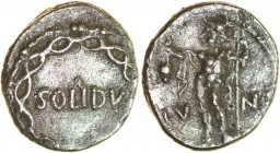 Solidu. c.AD 40-43. Silver unit. 12-14mm. 1.04g. SOLIDV in centre of plain field, pellet immediately above, between letters L and I; encircled by two ...