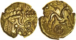 Selsey Two Faced. No Bars Type. Sills British Qa, class 1, dies 1/1. c.55-45 BC. Gold stater. 17mm. 6.08g. Wreath design with little phallic face and ...
