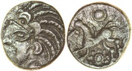 Arundel Moon Man. c.55-45 BC. Silver unit. 12mm. 1.10g. Head left, three-crescent hairband with curved locks of corded hair./ Annulate horse left with...