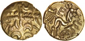 Commios E-Type. Sills class 2, dies 18/29. c.50-40 BC. Gold stater. 15-17mm. 5.53g. Atrebatic wreath pattern with downward facing leaves./ Disjointed ...