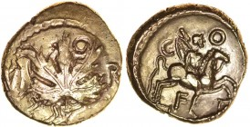 Verica Vine Leaf. Leaping Horse. Sills class 5c, dies 18cl/33. c.AD10-40. Gold stater. 15-17mm. 5.36g. Vine leaf on plain field, VI to left, R[I] to r...
