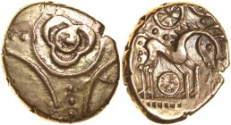 Freckenham Flower. Two Wheels Type. Talbot EBH, die group I, dies A/3. c.30-10 BC. Gold stater. 15-18mm. 5.50g. Large three-petal flower in plain ring...