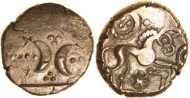Freckenham Crescents. Ring and Star Type. Talbot BHB, die group I, dies D/7. c.30-10 BC. Gold stater. 17mm. 5.39g. Back-to-back crescents, pellet tria...