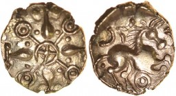 Gisleham Glory. Talbot Saham Toney Quarter Stater, dies A/1. c.40-20 BC. Gold quarter stater. 11mm. 1.00g. Cruciform design with ringed-pellet at each...