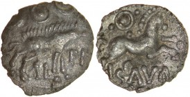 Alii Scavo. Talbot Ale Sca, dies A/1. c.AD35-45? Silver unit. 14mm. 1.03g. Boar stepping right, short dashes for bristles, ringed-pellet between two c...
