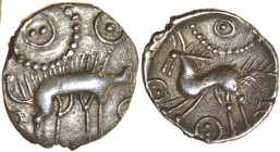 Spilsby Stag. Rich Type 12a. c.55-45 BC. Silver unit. 13-15mm. 0.90g. Boar right, short-spiky bristles on back, upturned snout, above: ringed-pellet a...