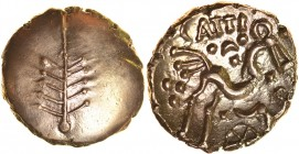 Catti Tree. c.AD 1-20? Gold stater. 19mm. 5.48g. Tree symbol on plain field./ Triple-tailed horse right, above: CATTI, two pellets, crescent and tiny ...